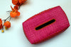 tissue box holder - pink & orange