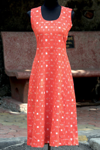 dress - ikat & orange sleeveless
