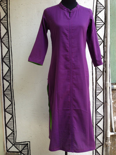 long kurta - reversible & green + purple