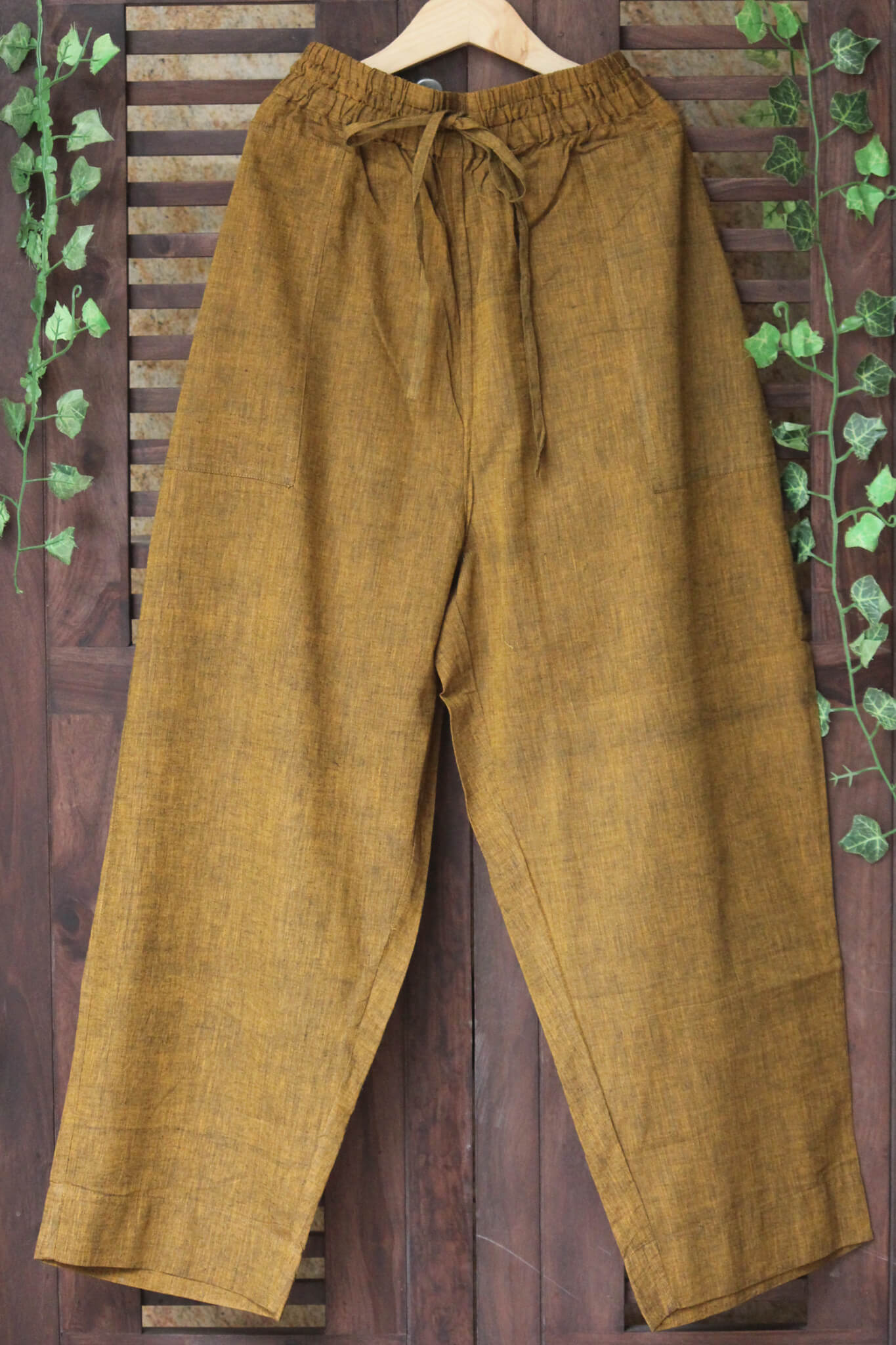 ELASTICATED MANGALGIRI PANTS -  OCHRE-BLACK CROSS COLOUR