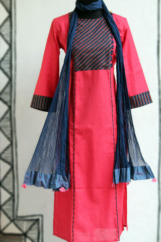 long kurta - lotus & stripe dori
