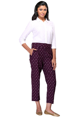 trousers - purple & ikat