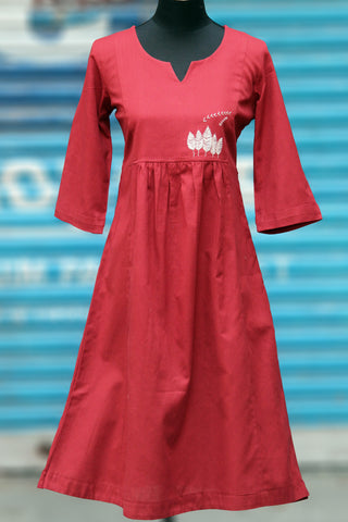 dress - brick red & linen+cotton