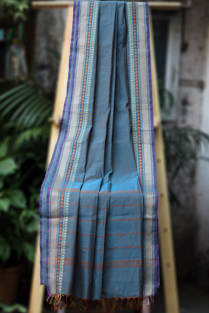 chettinad cotton saree - sombre blue  & plum tree border