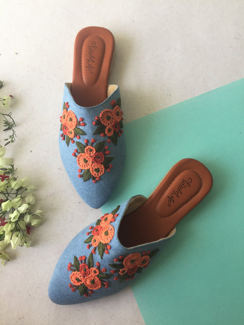 MULES - DENIM & FLOWERS