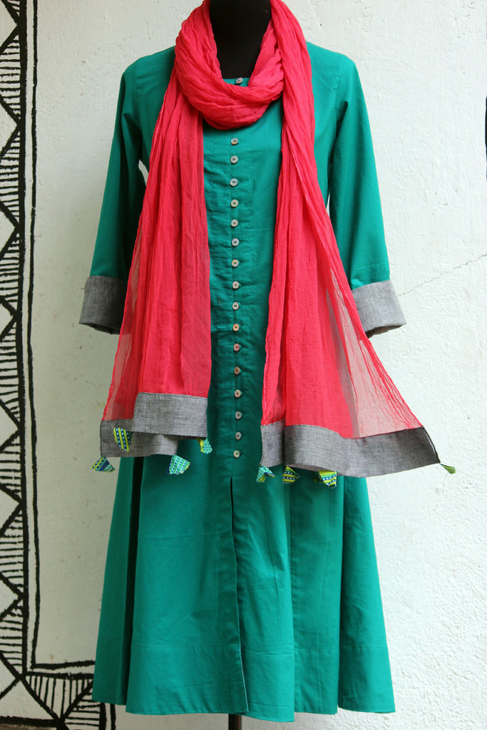 anarkali - teal & shell