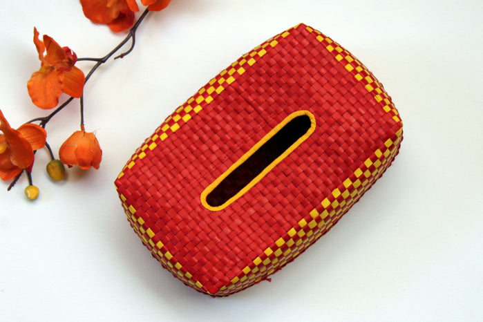 tissue box holder- crimson red & yellow