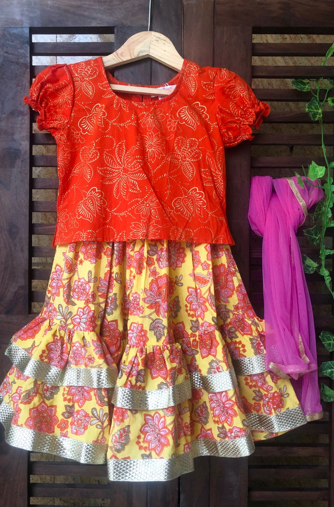 kidswear - two tier floral lehenga with orange top & dupatta