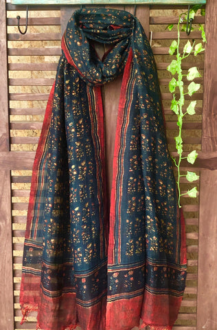 abstract ajrakh dupatta - deep indigo & dainty roses