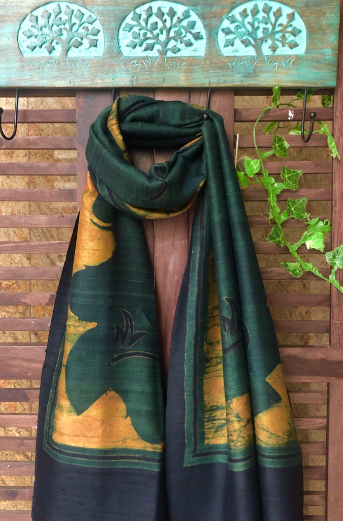 abstract ajrakh stole - bottle green & gold motifs