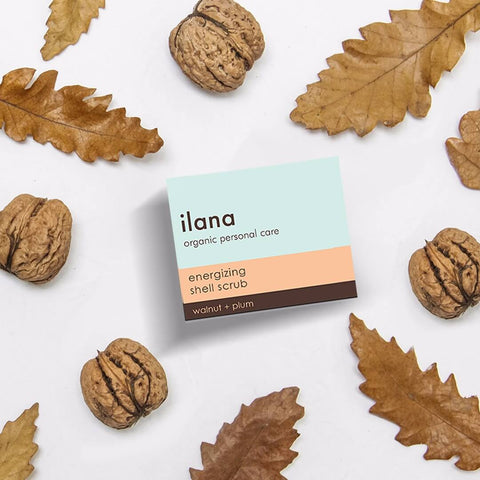ILANA ORGANICS-  ENERGIZING FRUIT SHELL SCRUB WALNUT + PLUM