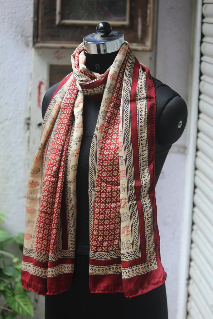 bagh silk stole - paisley & diamonds