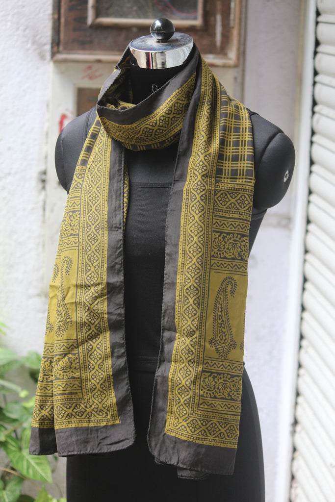 bagh silk stole - checkered & yellow paisley