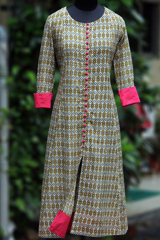 anarkali - yellow fence & fuchsia