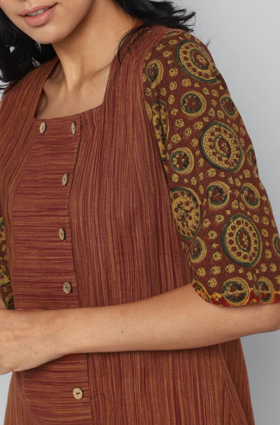 FLAP KURTA - RUST & RIYAL