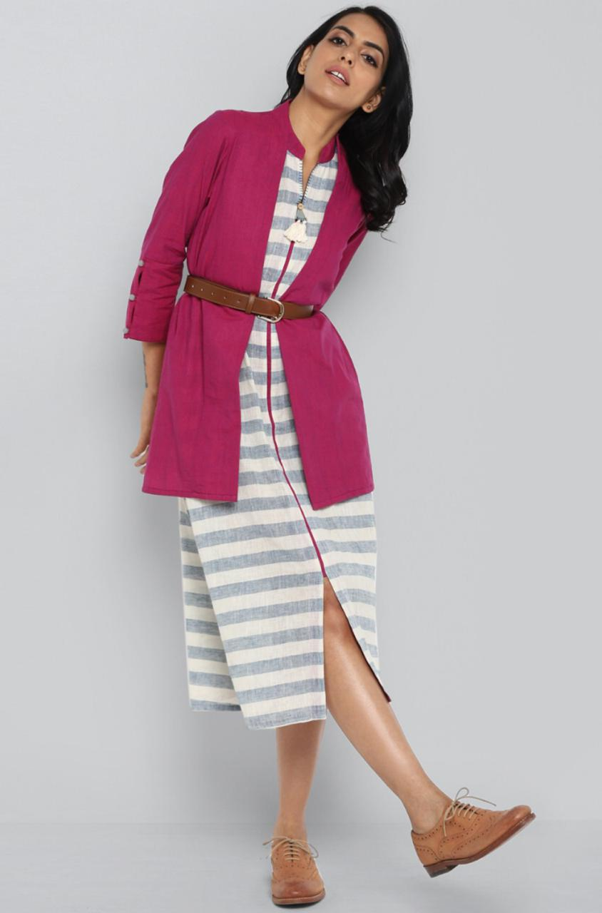 dress + jacket - blue bay & magenta jacket