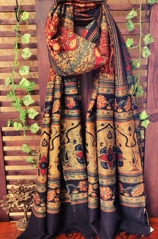 abstract ajrakh dupatta - madder florals & a dash of gold