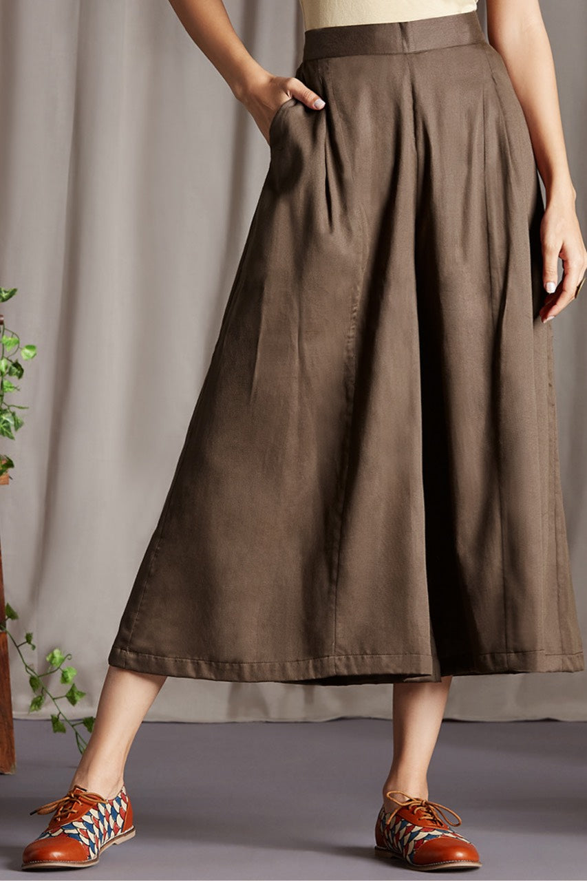 box pleated culotte - brown & earth