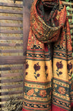 abstract ajrakh dupatta - madder red & a gold garden