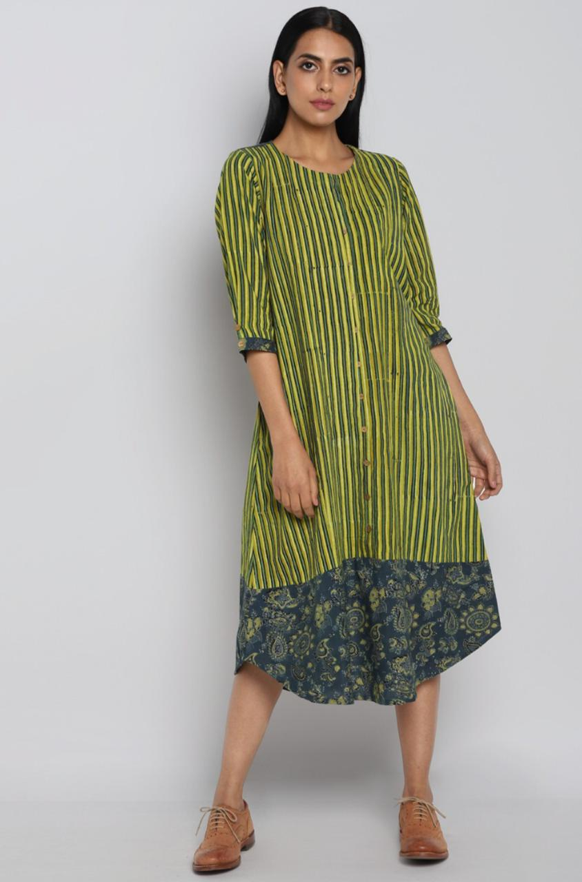 boat border dress - yellow & green stripes