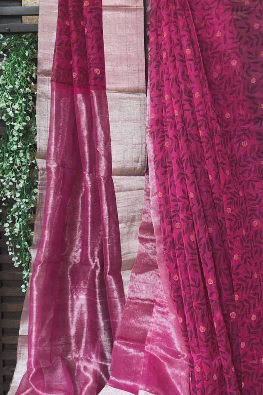 handwoven chanderi saree - rani pink & silver forest