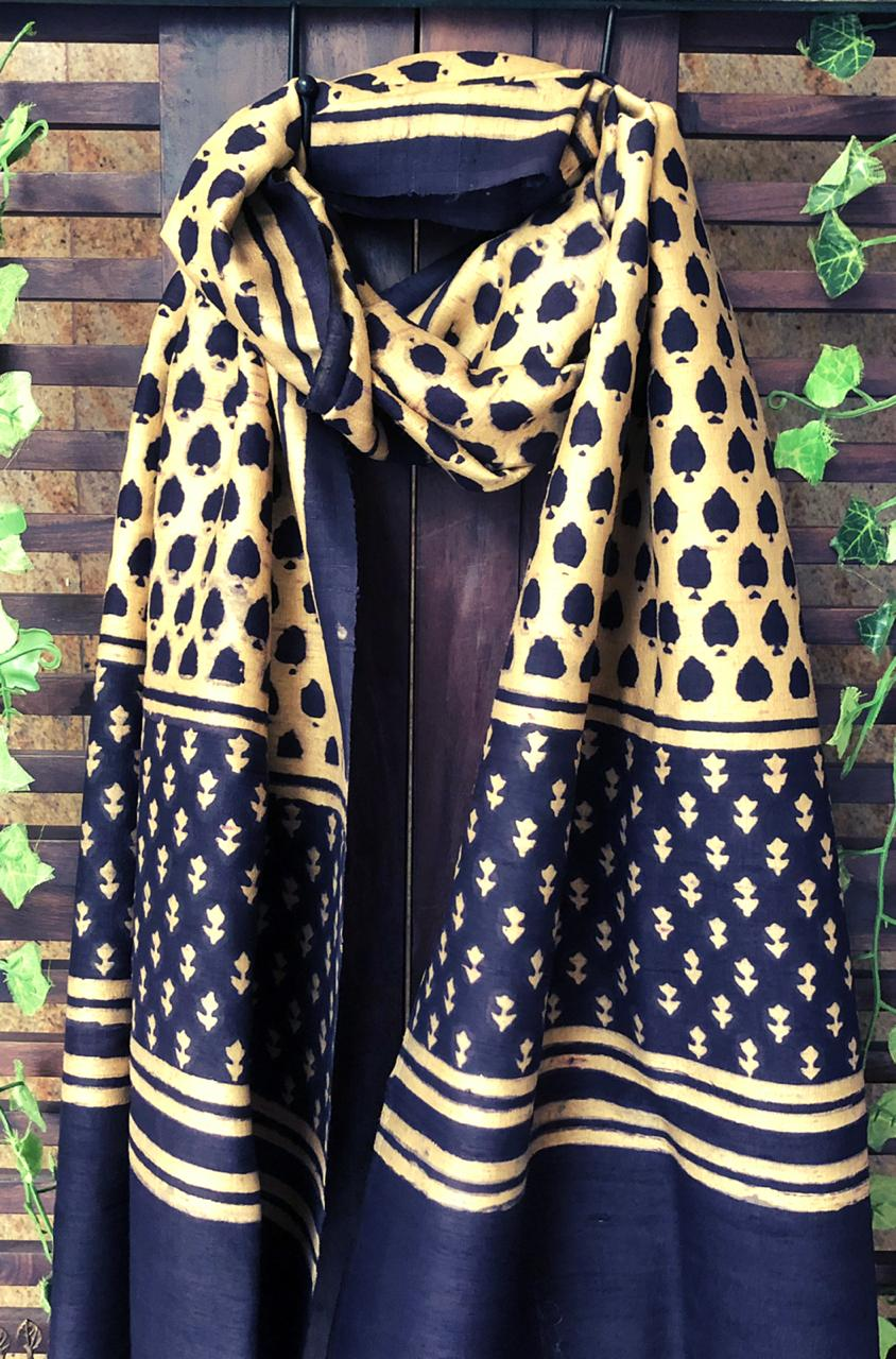 abstract ajrakh stole - gold dust & coffee brown
