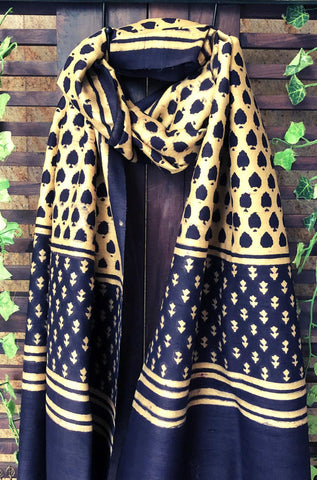 abstract ajrakh dupatta - gold dust & coffee brown