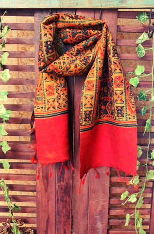 abstract ajrakh scarf - multicolored & mosaic