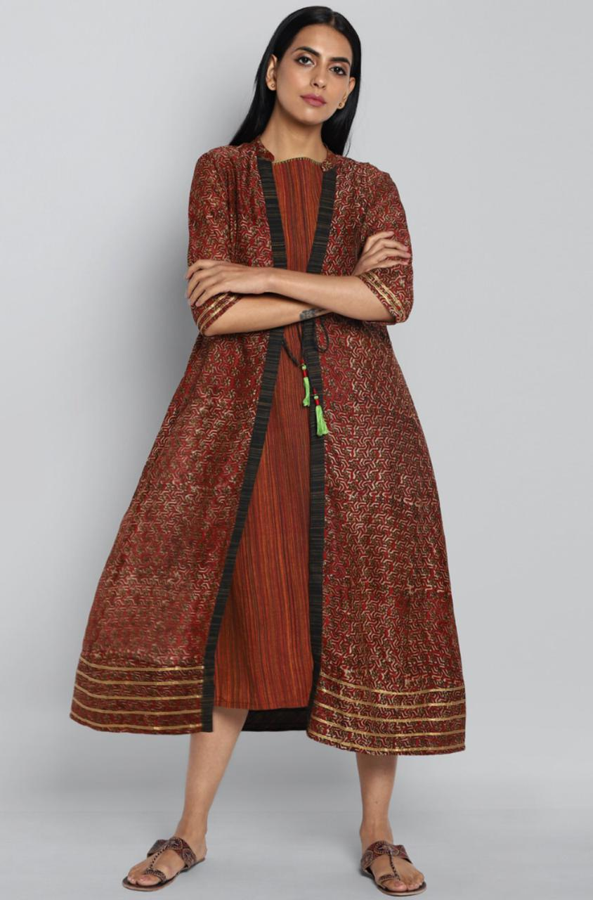 2 layer chanderi jacket & dress - prisma & red star