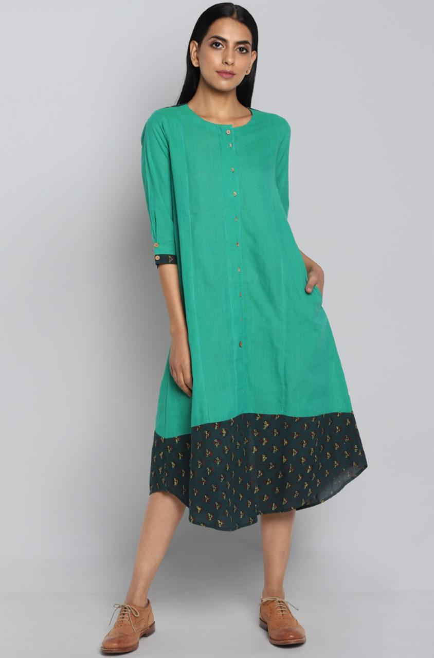 Boat Border Dress - sea green & buttis