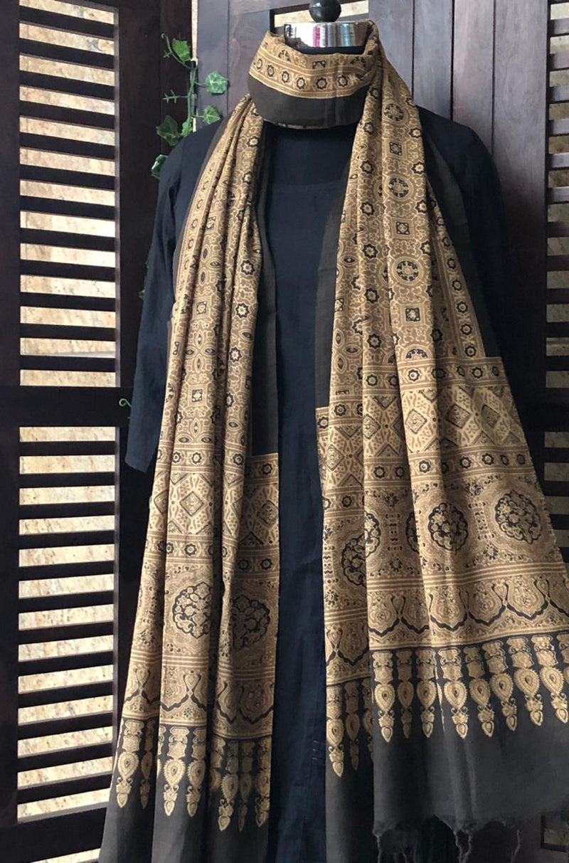 ajrakh handloom dupatta - earth ochre & riyal