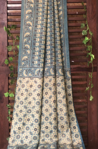 mulberry silk saree - indigo yellow & pine