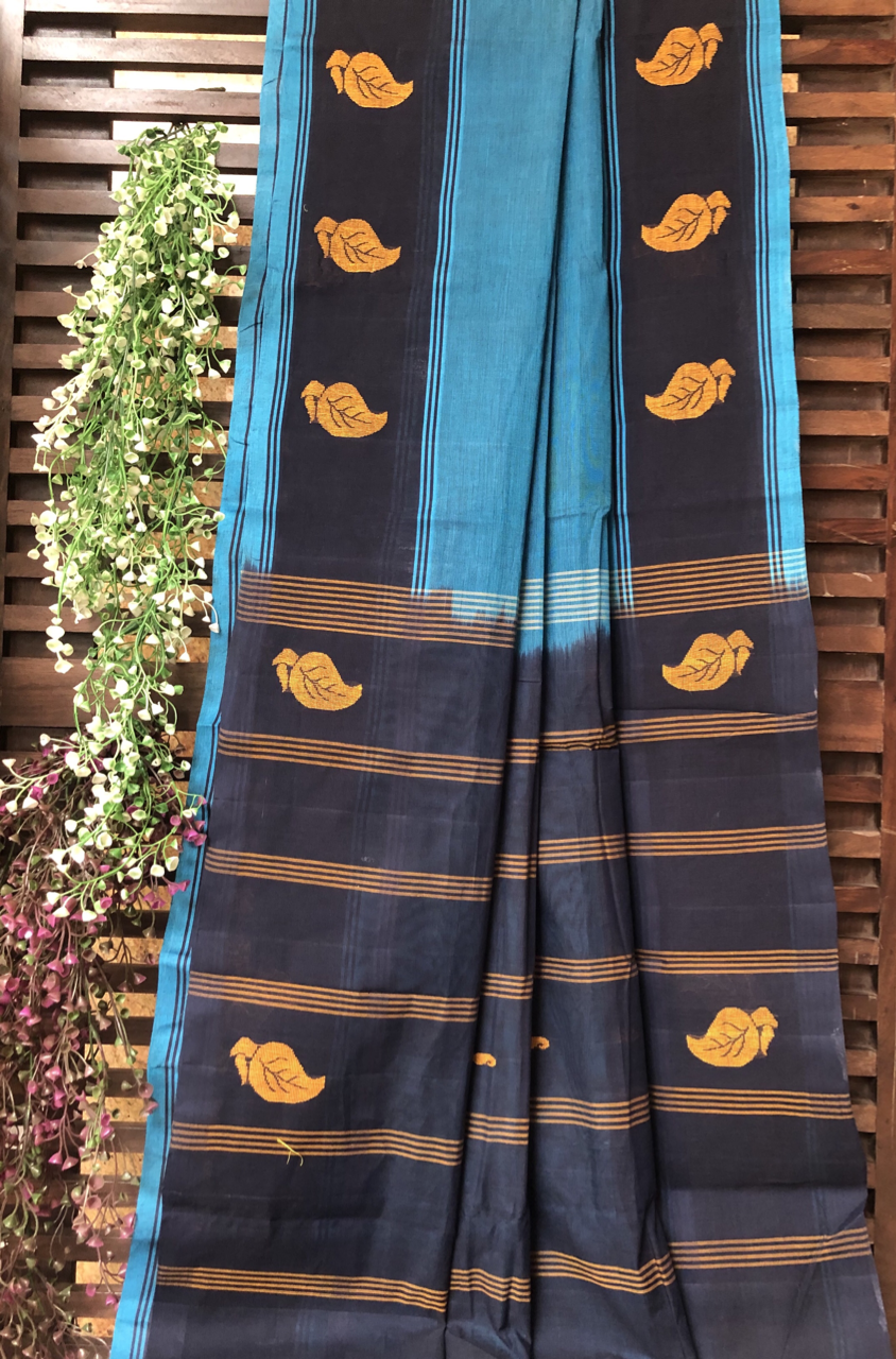 chettinad cotton saree - navy blue & gold leaves