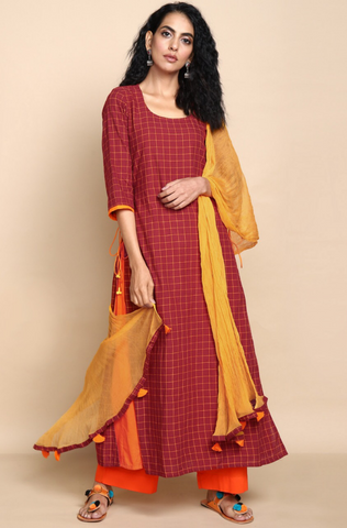 layered long kurta - mahogany & checks