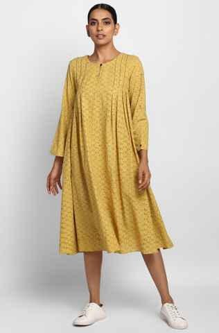 box pleated swing dress - canary yellow & kohl dots