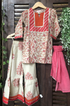 kidswear - peach floral kurti with beige red sharara & dupatta
