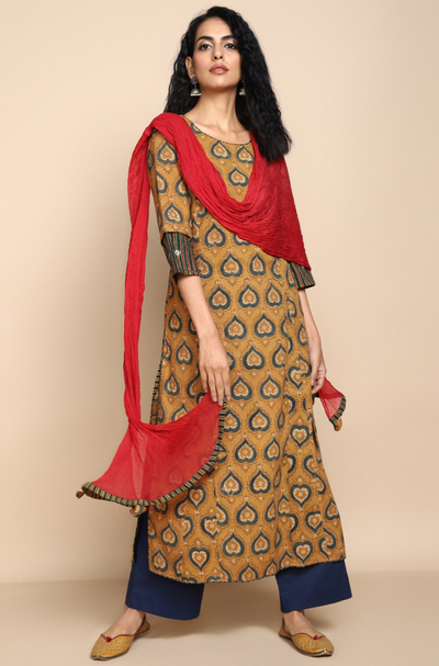 side potli long kurta - mustard & motif