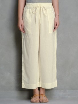 ELASTICATED CAMBRIC PANTS - off white pants
