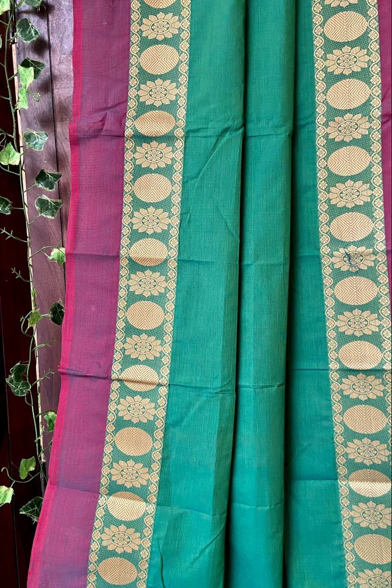 chettinad cotton saree -  fern & floral border
