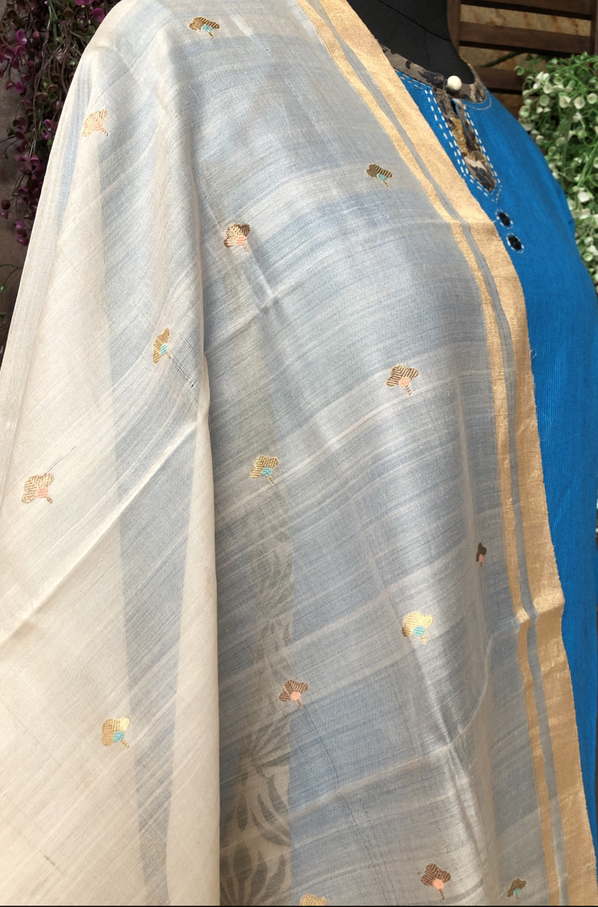 handwoven chanderi dupatta - hazelwood & gold flowers