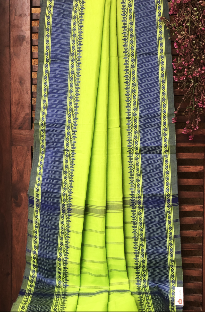 chettinad cotton saree - lime green & indigo border