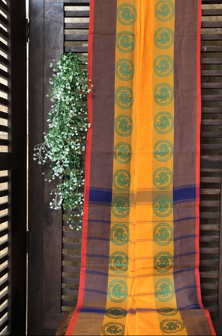 chettinad cotton saree - marigold & paisley circles