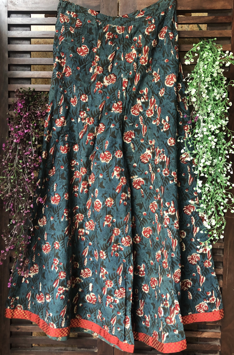 printed sharara - indigo green & roses