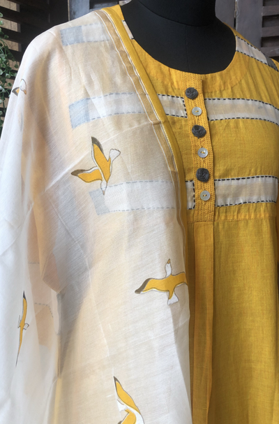 handwoven chanderi dupatta - many dove & sunshine sky