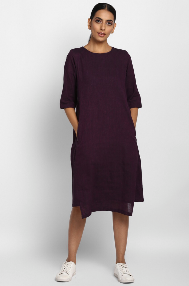 Purple Mangalgiri Dress with Pockets
