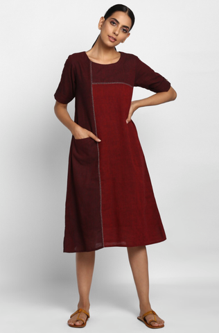 shift dress with pocket - marsala & geometric stripes