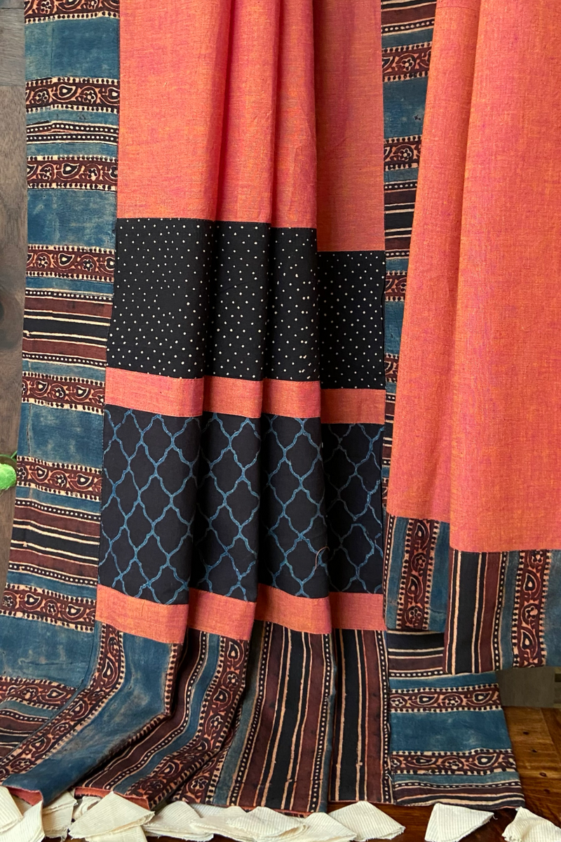 patchwork applique saree - starbust peach & midnight sky
