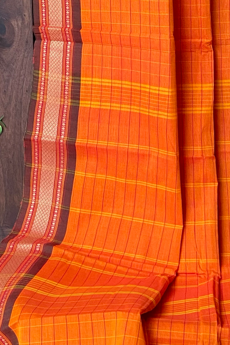 chettinad cotton saree - orange & sunshine