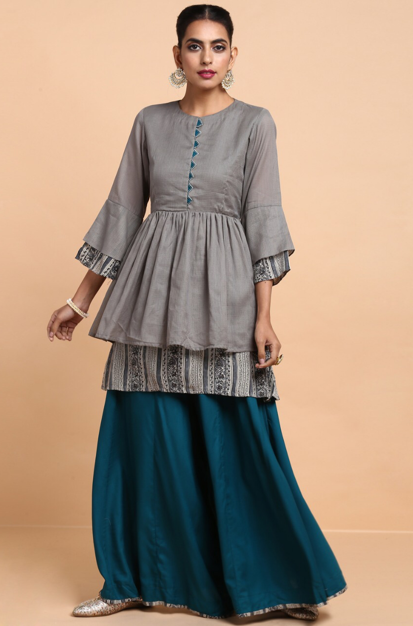 ensemble - peplum top + palazzo - harbor grey & rama green