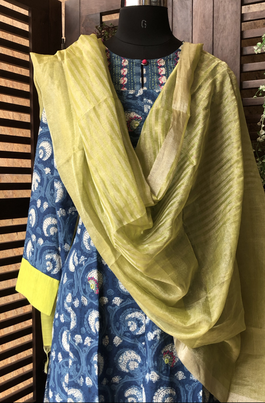 handwoven chanderi dupatta  - olive stripes & gold dust